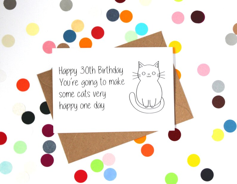 Funny 30th Birthday Card Crazy Cat Lady