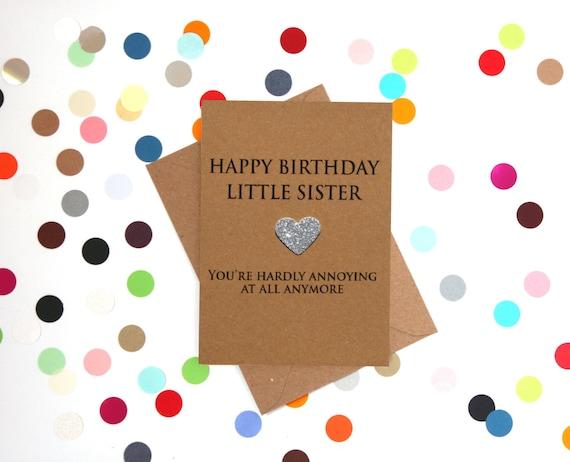 Funny Sister Birthday Card Little Sister Card Little Sister Etsy
