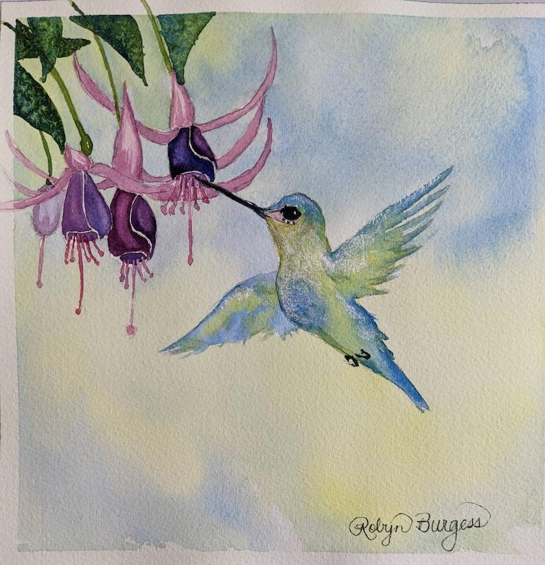 Hummingbird Sipping  Fuchsia/'s original watercolor painting 8x8