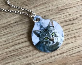 Custom Cat Pendant - Bauble Custom Cat - Cat Round Necklace - Cat Necklace - Cat Lover - Cat Gift - Photo Pendant - Cat Photo Round Pendant