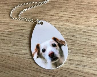 Custom Tear Drop Dog Pendant - Custom Tear Drop Necklace - Custom Dog Necklace - Pet Memorial Necklace - Dog Memorial Pendant