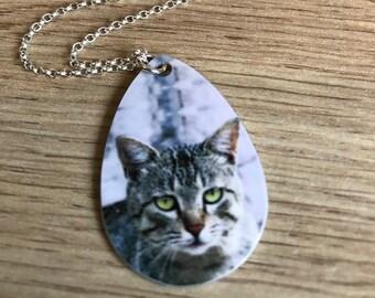 Custom Tear Drop Cat Pendant - Custom Tear Drop Necklace - Custom Cat Necklace - Pet Memorial Necklace - Cat Memorial Pendant