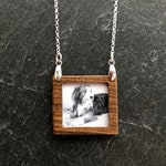 Beautiful Keepsake Walnut Framed Photo Pendant Necklace on Sterling Silver Chain