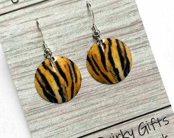 Tiger print earrings, tiger earrings, animal print earrings, animal print, tiger drop earrings