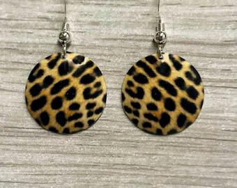 Leopard print earrings, leopard print, animal print earrings, animal print, leopard drop earrings