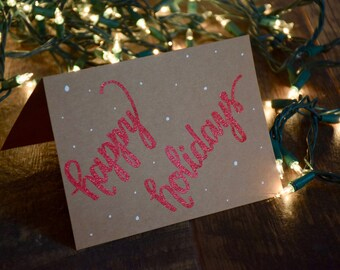 Embossed Handwritten Holiday Card | Happy Holidays | Christmas Card | Calligraphy