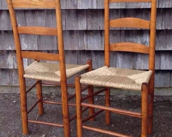 An Almost Pair Of Antique Ladder Back Caned Chairs