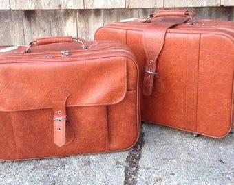 3 Piece Set of Vintage Three Star Luggage Suitcase Travel Bags Korea