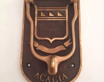 Antique Brass or Bronze Masonic Shield Acacia Door Knocker Architectural Salvage Mansion Door