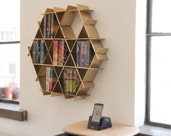 Wall Mounted Shelf Storage Unit Bookcase Floating Shelve Hanging Bookshelf Book Shelving Gold Shelves