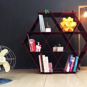 Large Geometric Shelf DIY Furniture Metal Shelves Bookcase Honeycomb Hexagon Home Bar Shoe Storage Shelving Unit