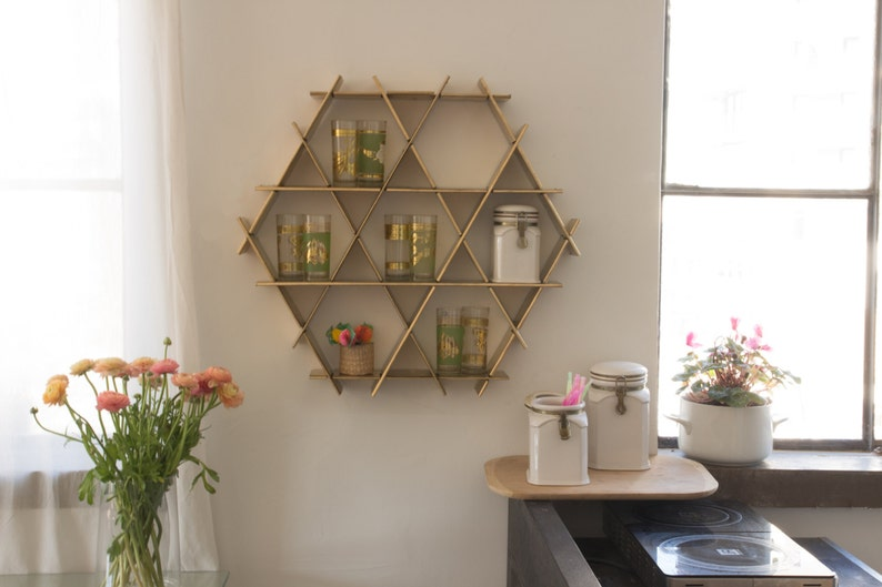 gold kitchen wall storage shelf organizer spice rack modern | etsy