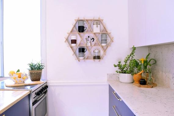 Wood Wall Shelf Wooden Kitchen Rack Floating Kitchen Etsy