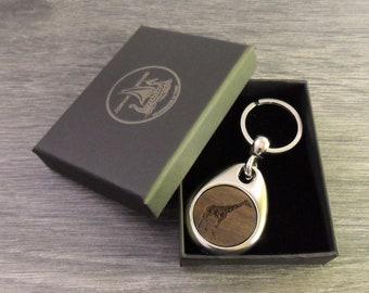 Personalised Giraffe Design Keyring, Custom Keychain