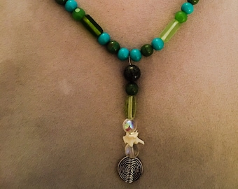 Gaia/Mother Earth Necklace with Rattlesnake Vertebrae