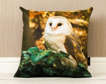 Barn Owl Photo Cushion, Original Photograph Cushion, Bird Cushion, Owl Pillow, Vegan-Suede Handmade Pillow, Owl Lover Gift