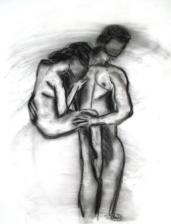 Original Artwork Drawing Beautiful Girl Charcoal Pencil Art Female Nude