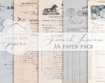 Vintage 'French Invoices' A4  Paper Collection - Digital Download - Vintage Papers - Printables for Journaling and Art