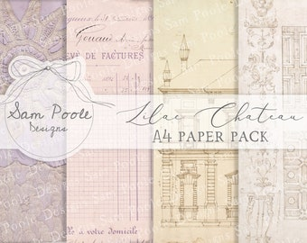 Lilac Chateau Junk Journal A4 Paper Collection - Digital Download - Vintage Papers - Printables for Journaling and Art