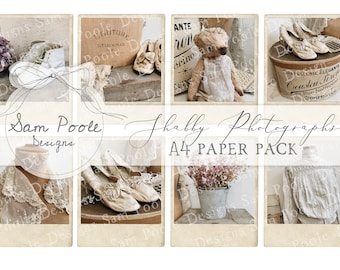 Shabby Photographs Shabby Chic Junk Journal A4 Paper Collection - Digital Download - Vintage Papers - Printables for Journaling and Art