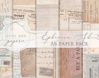 Vintage 'Ephemera Sheets' A4  Paper Collection - Digital Download - Vintage Papers - Printables for Journaling and Art