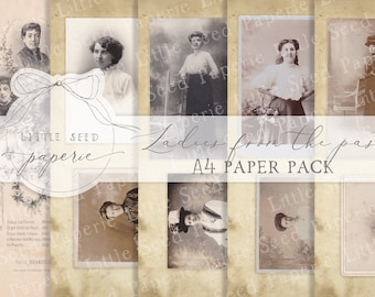 Vintage 'Ladies from the past' A4  Paper Collection - Digital Download - Vintage Papers - Printables for Journaling and Art