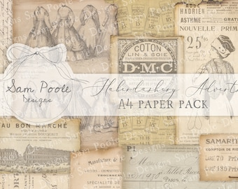 Haberdashery Adverts Vintage French Junk Journal A4 Paper Collection - Digital Download - Vintage Papers - Printables for Journaling and Art