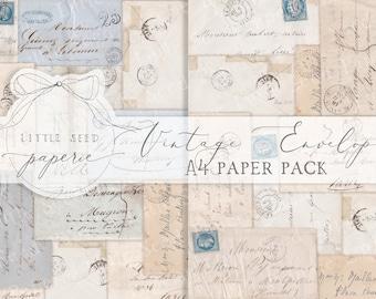Vintage Envelopes A4  Paper Collection - Digital Download - Vintage Papers - Printables for Journaling and Art