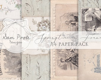 Springtime in France Junk Journal A4 Paper Collection - Digital Download - Vintage Papers - Printables for Journaling and Art