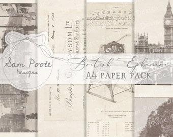 Vintage British Ephemera Junk Journal A4 Paper Collection - Digital Download - Vintage Papers - Printables for Journaling and Art