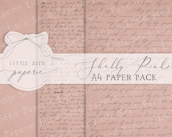 Vintage 'Shabby Pinks' A4  Paper Collection - Digital Download - Vintage Papers - Printables for Journaling and Art