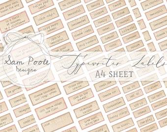 Typewriter Labels - Junk Journal - Digital Download - Vintage Ephemera - Printables for Journaling and Art