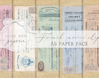 Vintage 'French Invoice Slips' A4  Paper Collection - Digital Download - Vintage Papers - Printables for Journaling and Art