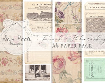 Vintage French Haberdashery Junk Journal A4 Paper Collection - Digital Download - Vintage Papers - Printables for Journaling and Art