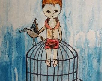 Kid & Bird. Original acrylic painting