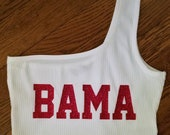 College Tube Top ANY COLLEGE Tailgating Top Strapless Tube Top One Shoulder Solid Crop Top Bama Roll Tide Alabama Bulldogs Gators Tigers