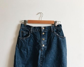 8b4165659 Size 28 - High Waisted Denim Pencil Skirt - Vintage