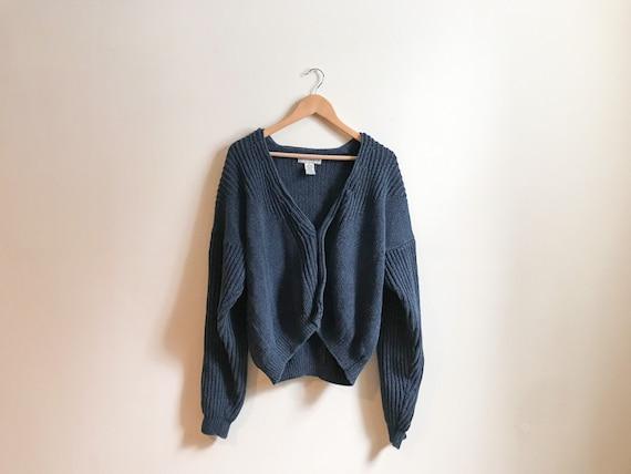 Oversized Blue Knit Cardigan Sweater - Vintage