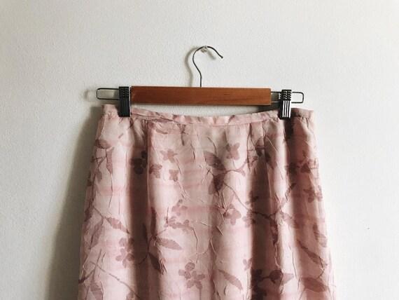 Rose Pink, Floral Maxi Skirt - Vintage