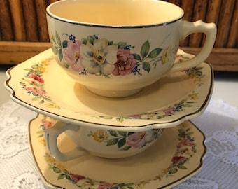 Beautiful Vintage Homer Laughlin Dogwood Rare Tea Cup and Saucer