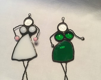 Dancing ladies stained glass suncatchers set of two