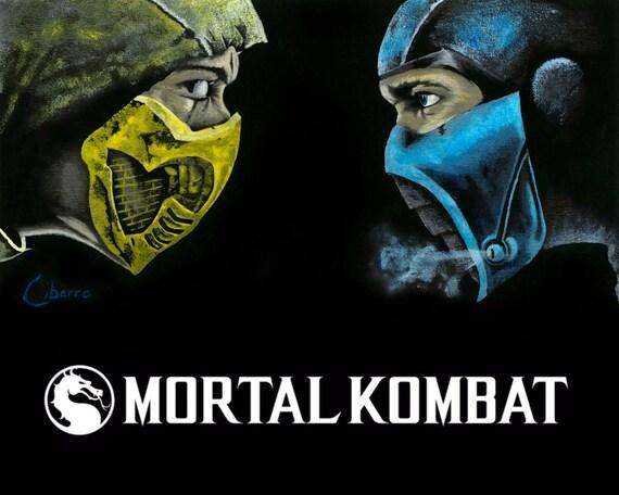 Mortal Kombat Scorpion vs Sub Zero / Mortal Kombat poster, Fan art,  Videogame art, ninja, wall art, Father's day gift, arcade wall