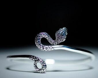 Adjustable Solid Silver Serpent Bracelet,  Sterling Silver Snake Bracelet, Silver Serpent Bangle, Silver Snake Bangle, Silver Serpent Cuff