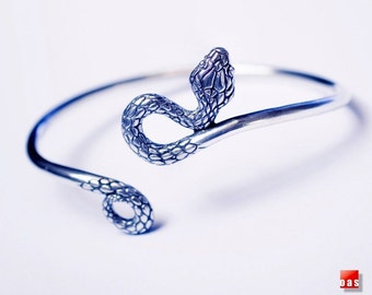 Adjustable Solid Silver Serpent Bracelet,  Sterling Silver Snake Bracelet, Silver Serpent Bangle, Silver Snake Bangle, Silver Serpent Cuff