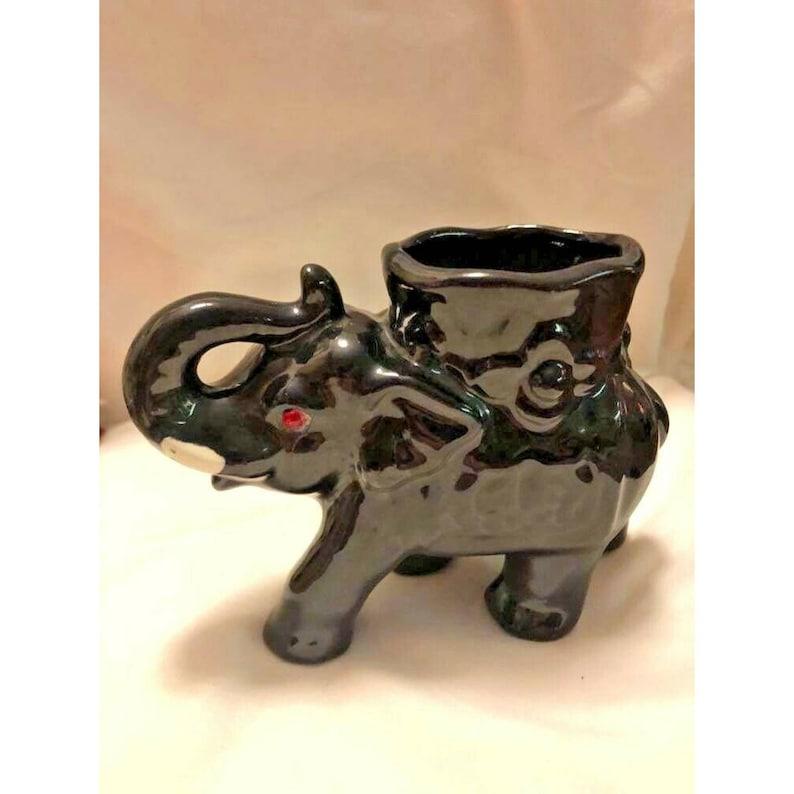 Attic Find Vintage Porcelain Japan Black ELEPHANT VASE Rhinestone Eyes