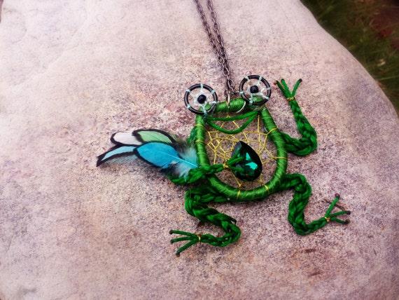 Animal Dream Catcher Necklace Dream Necklacegreen Frogs Etsy Beauteous Animal Dream Catchers