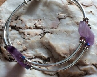 Amethyst and Silver Magnetic Bracelet