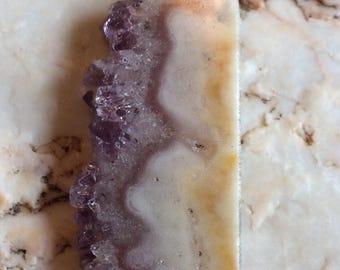 Unique Amethyst Geode Slice Pendant
