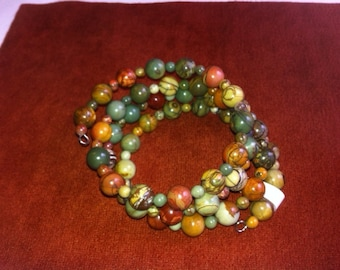 Handmade Red Creek Jasper Memory Wire Coil Bracelet