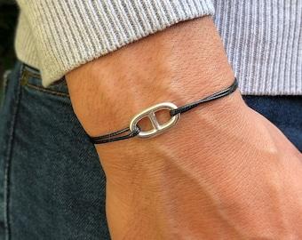 Marine mesh bracelet in Silver 925 on Cord - Mixed bracelet